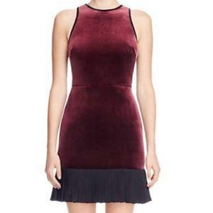 ABS Collection Velvet Chiffon Trim Dress Maroon 14